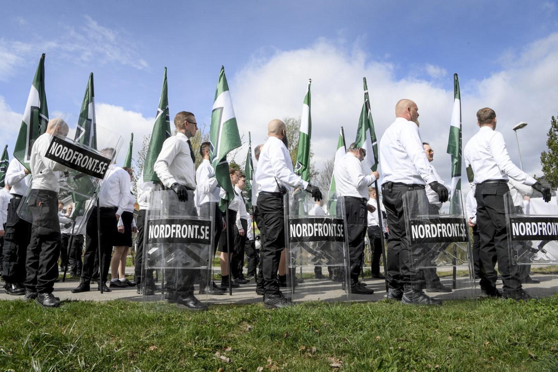 Nordiska Motståndsrörelsen, NMR, demonstrerar