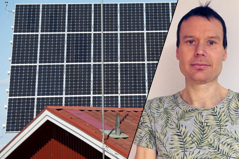 Solpaneler ovanför ett falurött hus och Petter Johansson, central ombudsman på Elektrikerna
