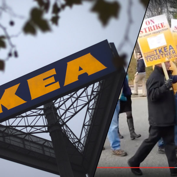 Ikea skylt och protesterande Ikea-arbetare i USA