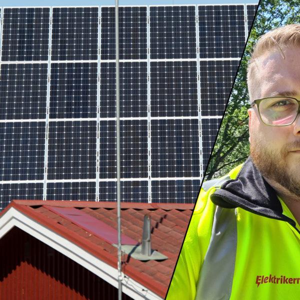 Solpaneler på faluröd stuga och Joel Larsson, verksamhetskretsledare i Elektrikernas Region Mitt.