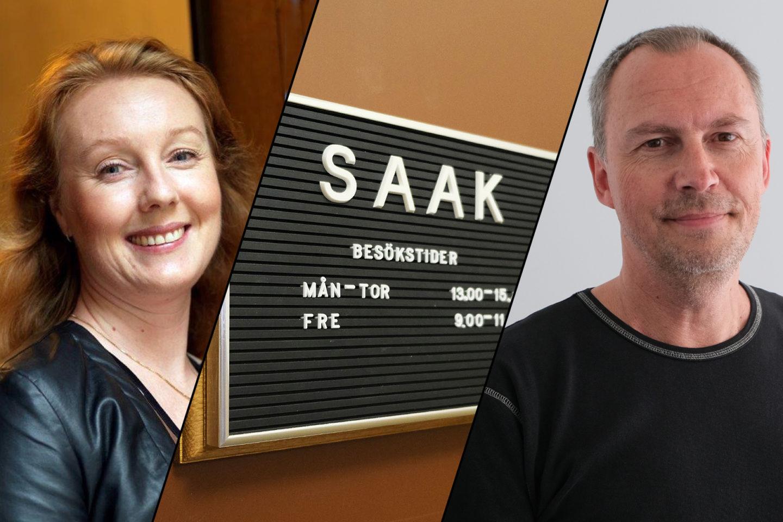 Christina Ehler, kassaföreståndare på Hamnarbetarnas a-kassa, SAAK:s skylt och Michael Ribbenhag, kassaföreståndare på SAAK