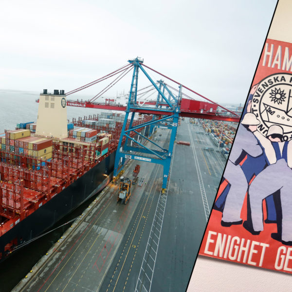 Båt anländer Göteborgs hamn för lossning.