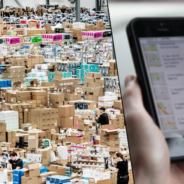 Arbetarna ser mycket små ut där de vandrar bland miljoner bruna paket. I förgrunden en hand som trycker på en smartphone.