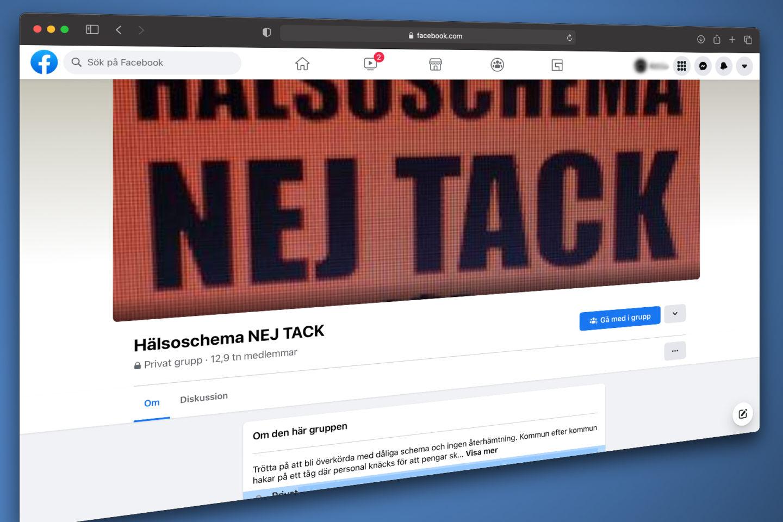 Hälsoschema Nej Tacks facebookgrupp
