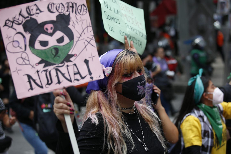 Demonstranter för fri abort i Mexiko
