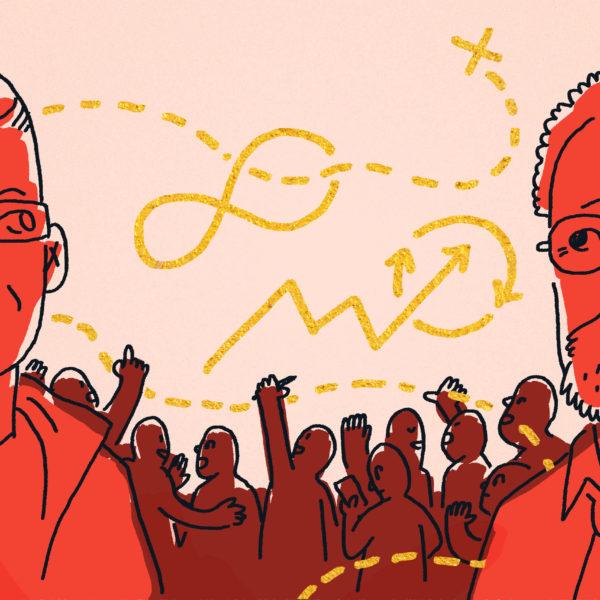 Tecknade porträtt av Anders Sandström och Robin Hahnel i samtal om demokratisk ekonomi och deltagarekonomi