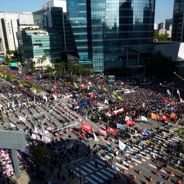 Strejkande arbetare i Sydkorea